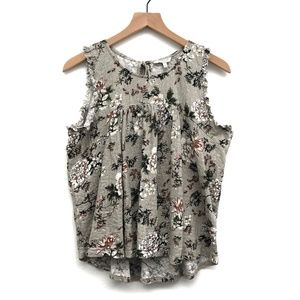 Lucky Brand Grey & White Floral Tank Top - Size L